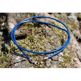 azurblau Halskette 2 mm Lederkette mit Karabinerverschluss und Endkappen